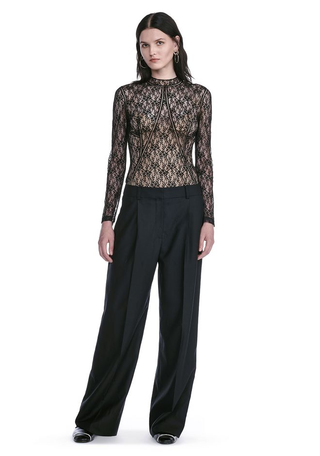 ALEXANDER WANG TOPS FLORAL LACE FITTED TOP