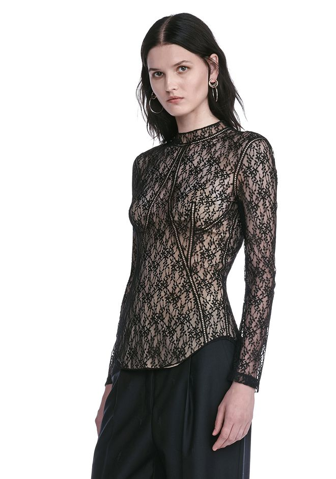 ALEXANDER WANG FLORAL LACE FITTED TOP TOP Adult 12_n_a