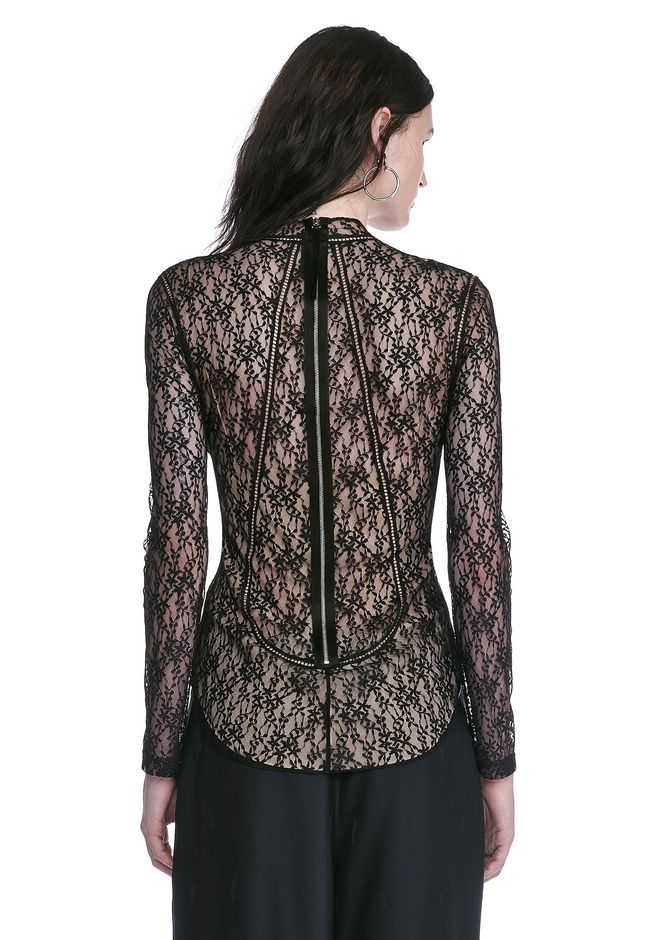 ALEXANDER WANG FLORAL LACE FITTED TOP TOP Adult 12_n_d