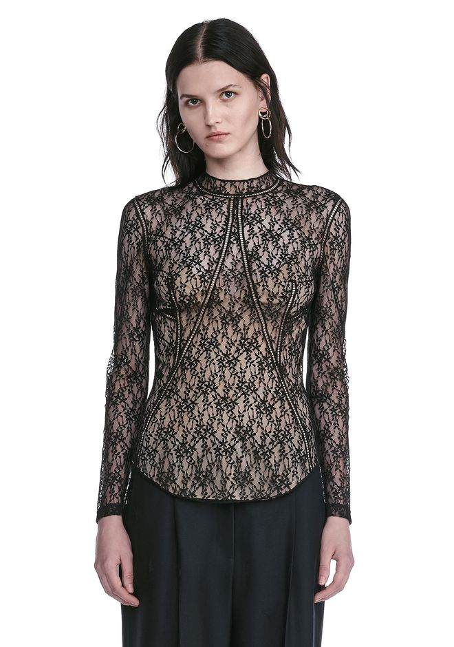 ALEXANDER WANG FLORAL LACE FITTED TOP TOP Adult 12_n_e