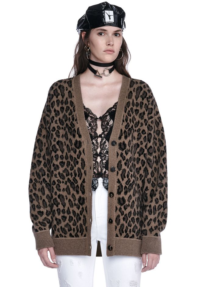 ALEXANDER WANG resort17-collection LEOPARD V NECK CARDIGAN
