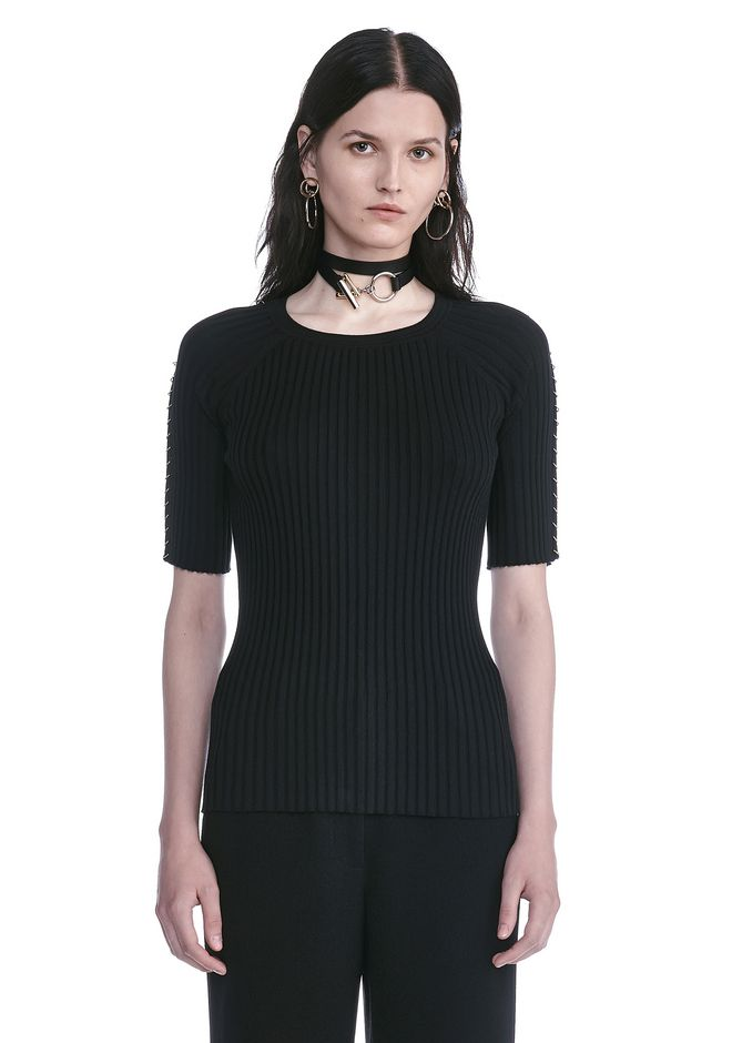 ALEXANDER WANG maille-pret-a-porter-femme CREW NECK TEE WITH PIERCED SLEEVES