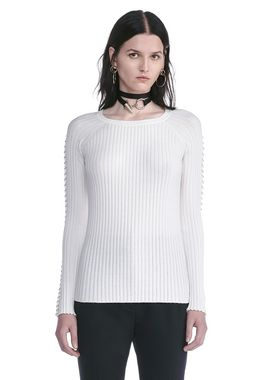 CREW NECK LONG SLEEVE TOP WITH PIERCED SLEEVES