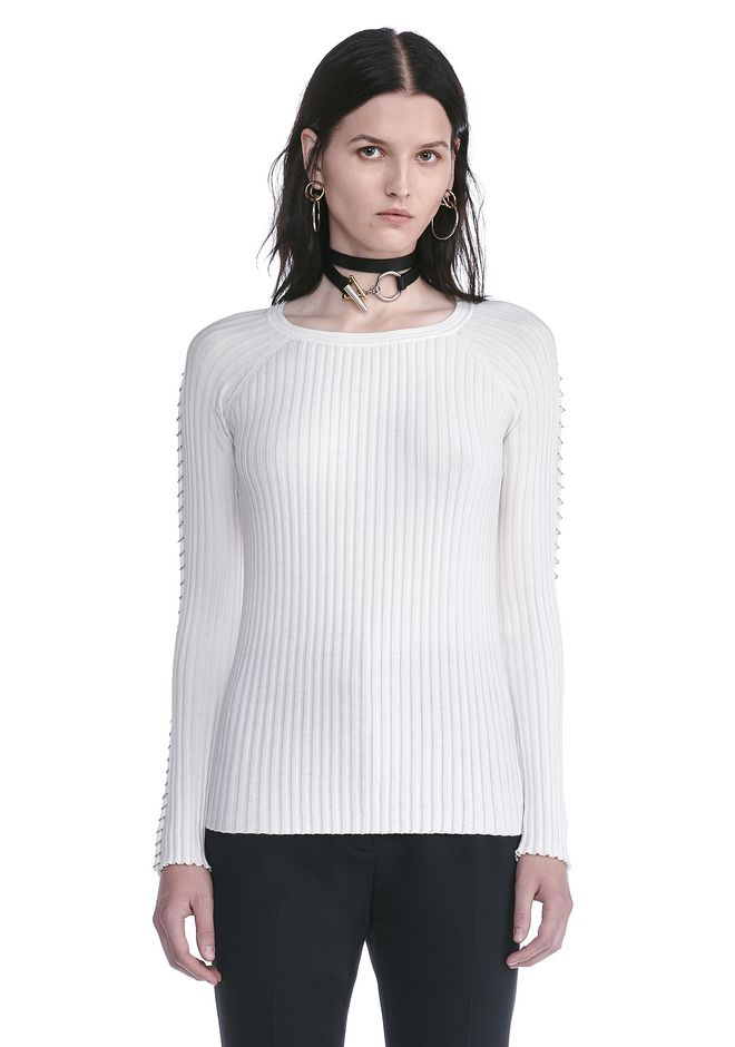 ALEXANDER WANG resort17-collection CREW NECK LONG SLEEVE TOP WITH PIERCED SLEEVES