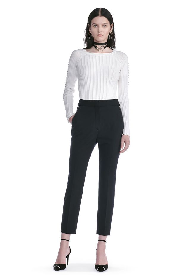 ALEXANDER WANG TOPS CREW NECK LONG SLEEVE TOP WITH PIERCED SLEEVES