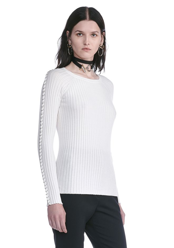 ALEXANDER WANG CREW NECK LONG SLEEVE TOP WITH PIERCED SLEEVES TOP Adult 12_n_a