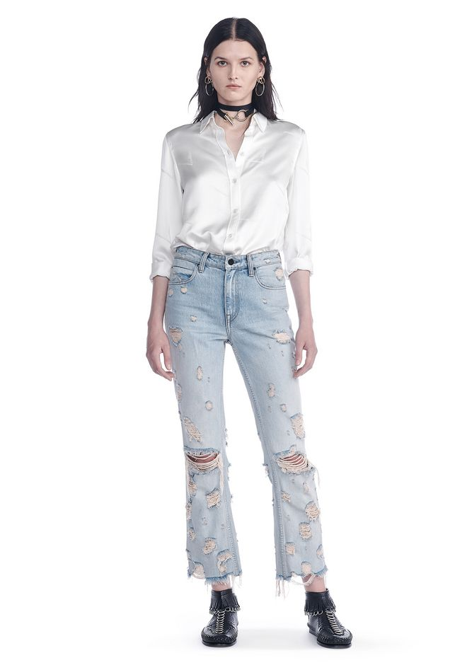 ALEXANDER WANG TOPS SILK BUTTON-UP SHIRT WITH CIGARETTE JACQUARD