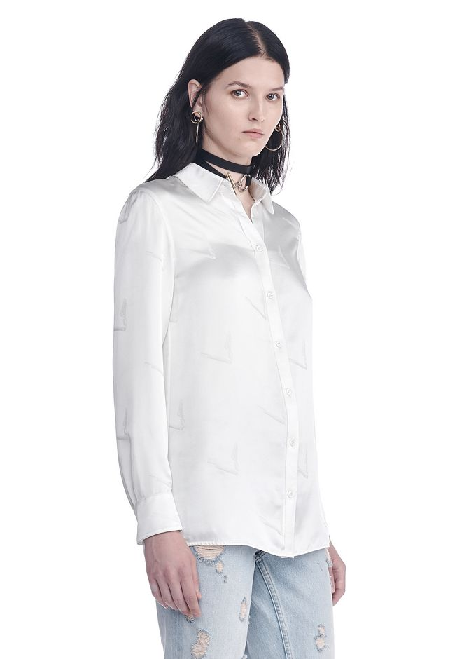 ALEXANDER WANG SILK BUTTON-UP SHIRT WITH CIGARETTE JACQUARD TOP Adult 12_n_a