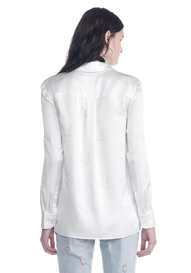 ALEXANDER WANG SILK BUTTON-UP SHIRT WITH CIGARETTE JACQUARD TOP Adult 12_n_d