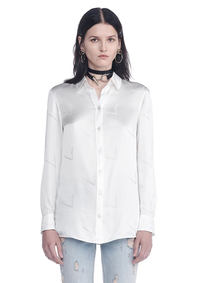 ALEXANDER WANG SILK BUTTON-UP SHIRT WITH CIGARETTE JACQUARD TOP Adult 12_n_e