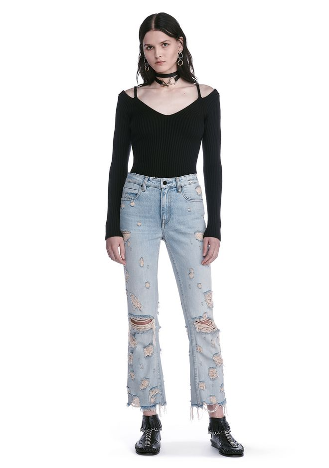 ALEXANDER WANG TOPS LONG SLEEVE TOP WITH LINGERIE BRA STRAPS