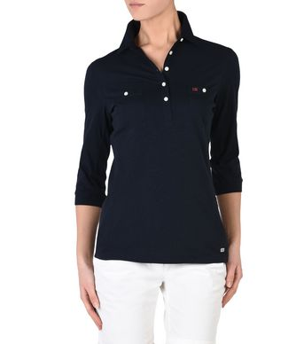 NAPAPIJRI EMY WOMAN LONG SLEEVE POLO,DARK BLUE