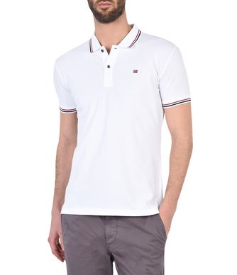 NAPAPIJRI ELDIS STRIPE  MAN SHORT SLEEVE POLO,WHITE