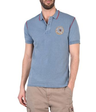 NAPAPIJRI EXLEY MAN SHORT SLEEVE POLO,SLATE BLUE