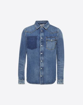 VALENTINO UOMO Shirt U ROCKSTUD UNTITLED DENIM SHIRT f
