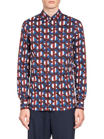 Marni Poplin shirt with Thrump print Man