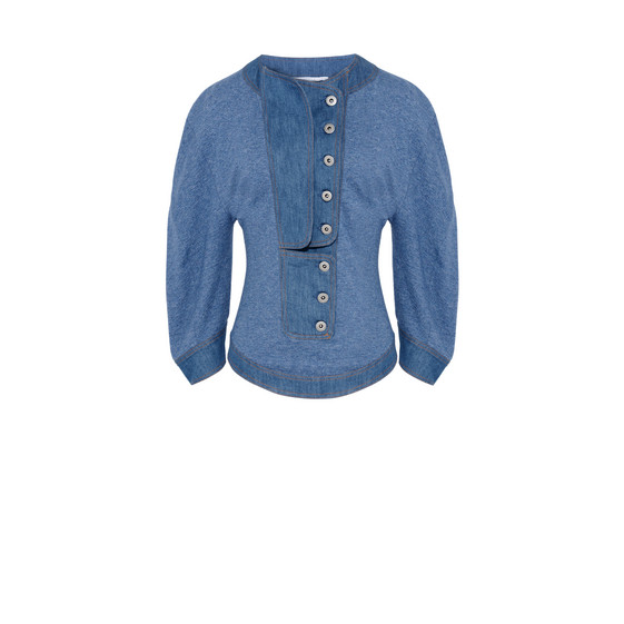 Light Blue Denim Short Sleeved Sweater