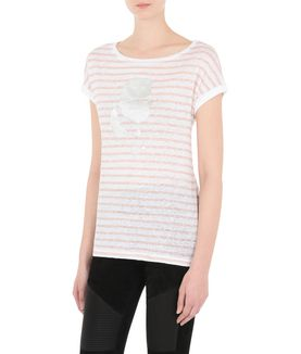 KARL LAGERFELD KARL FOILED HEAD STRIPE TEE