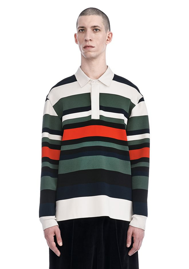 ALEXANDER WANG nwvmens-apparel STRIPED HENLEY PULLOVER