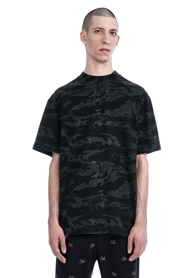 T by ALEXANDER WANG TOPS Men CAMO PRINTED HIGH NECK T-SHIRT