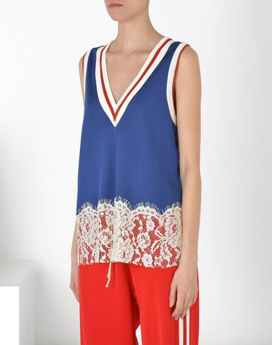 MM6 by MAISON MARGIELA Jersey and lace tank top Top D f