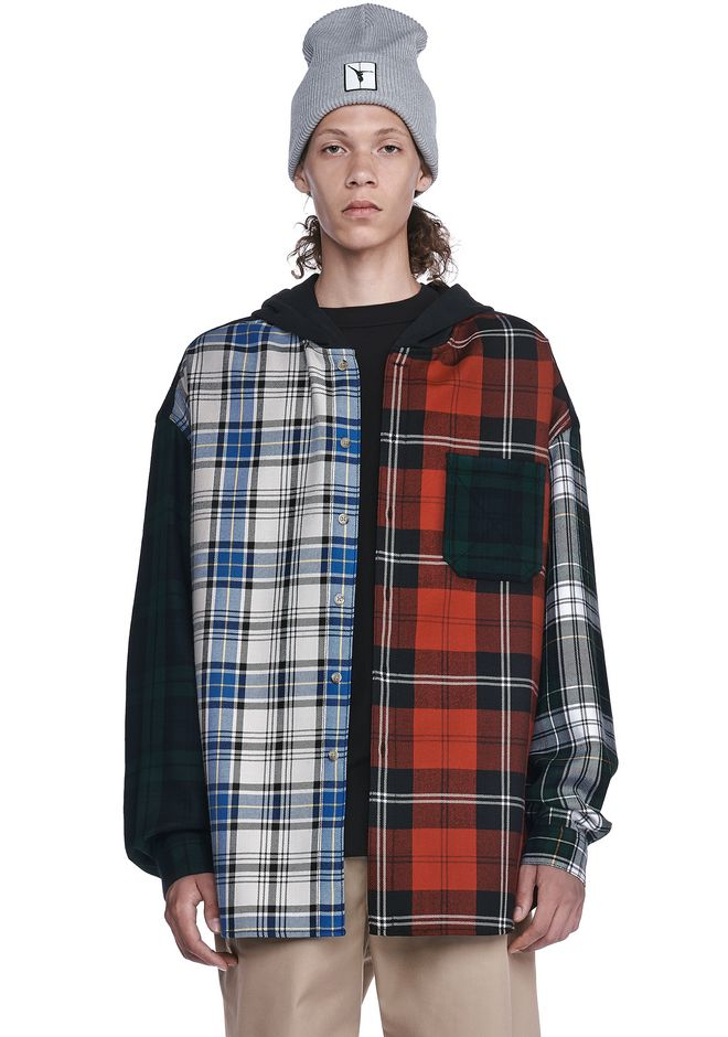ALEXANDER WANG TOPS WOOL TARTAN PATCHWORK HOODED OVERSHIRT