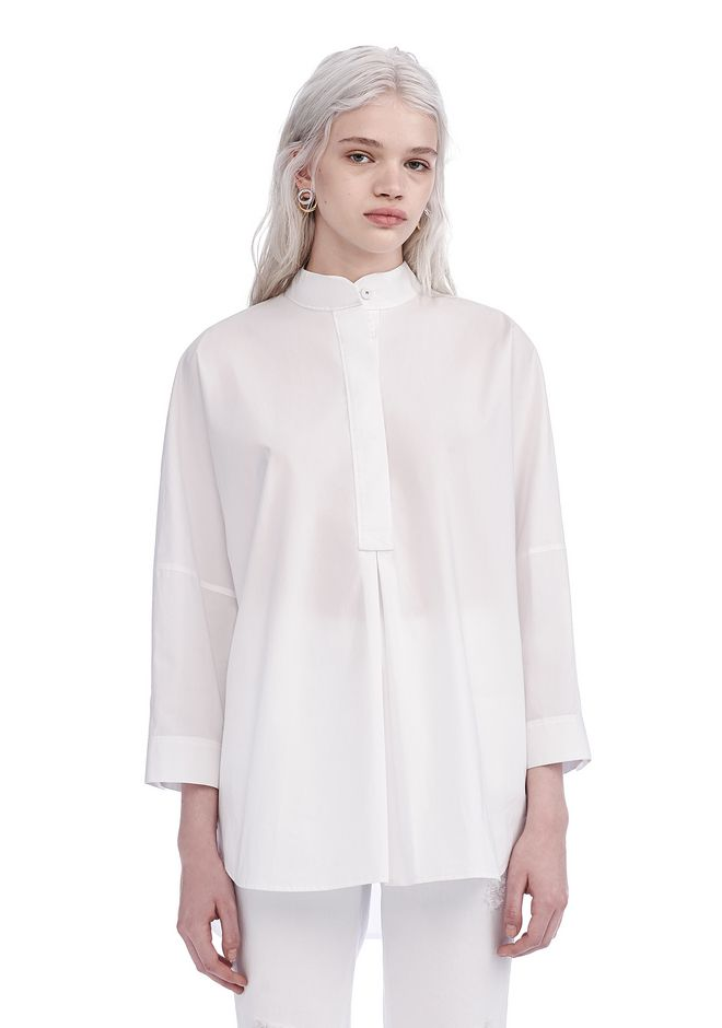 T by ALEXANDER WANG new-arrivals-t-by-alexander-wang-woman MANDARIN COLLARED TUNIC SHIRT