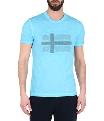 NAPAPIJRI SALVADOR MAN SHORT SLEEVE T-SHIRT,SKY BLUE