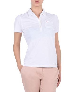 NAPAPIJRI ESTELI WOMAN SHORT SLEEVE POLO,BRIGHT WHITE