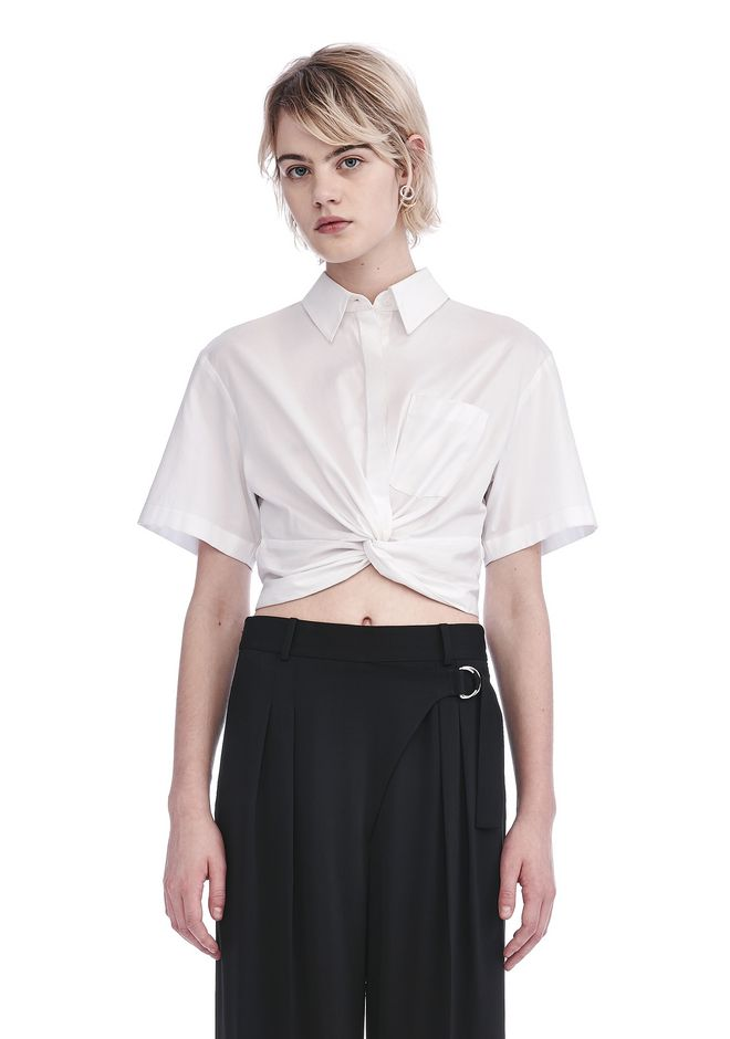 T by ALEXANDER WANG TOPS TWIST FRONT SHORT SLEEVE CROP SHIRT