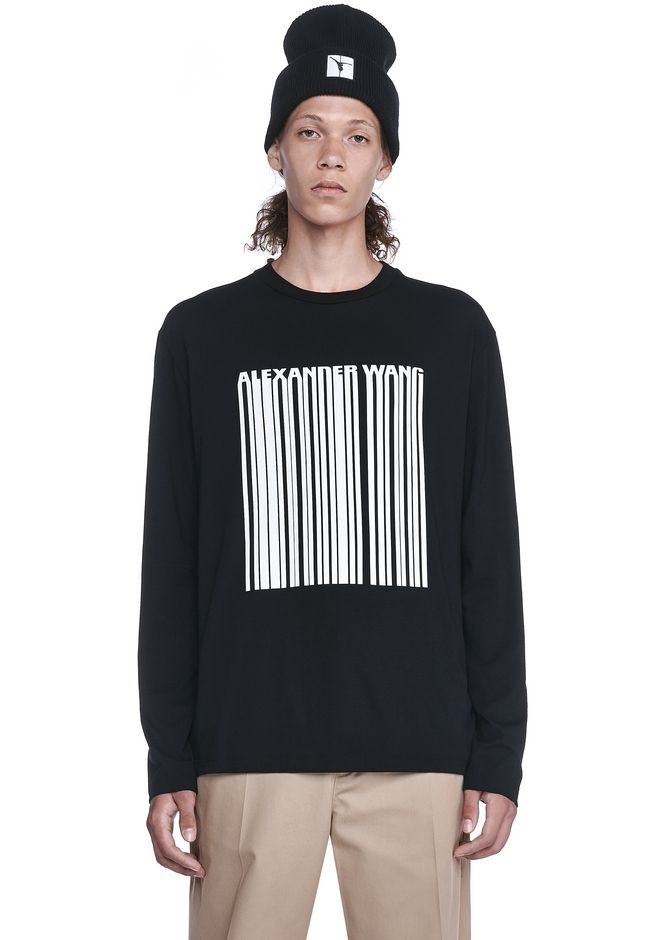 ALEXANDER WANG TOPS Men BARCODE LONG SLEEVE-SHIRT
