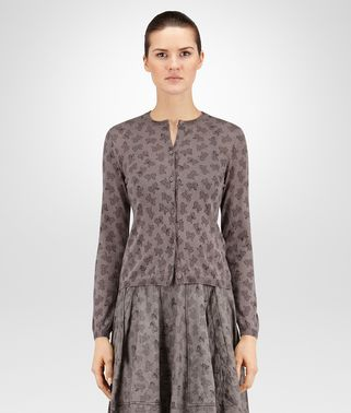 CARDIGAN IN STEEL PRINTED CASHMERE SILK