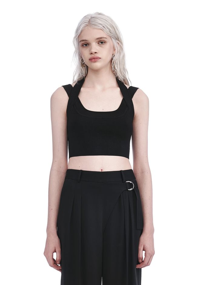 T by ALEXANDER WANG TOPS DOUBLE STRAP CROP TOP