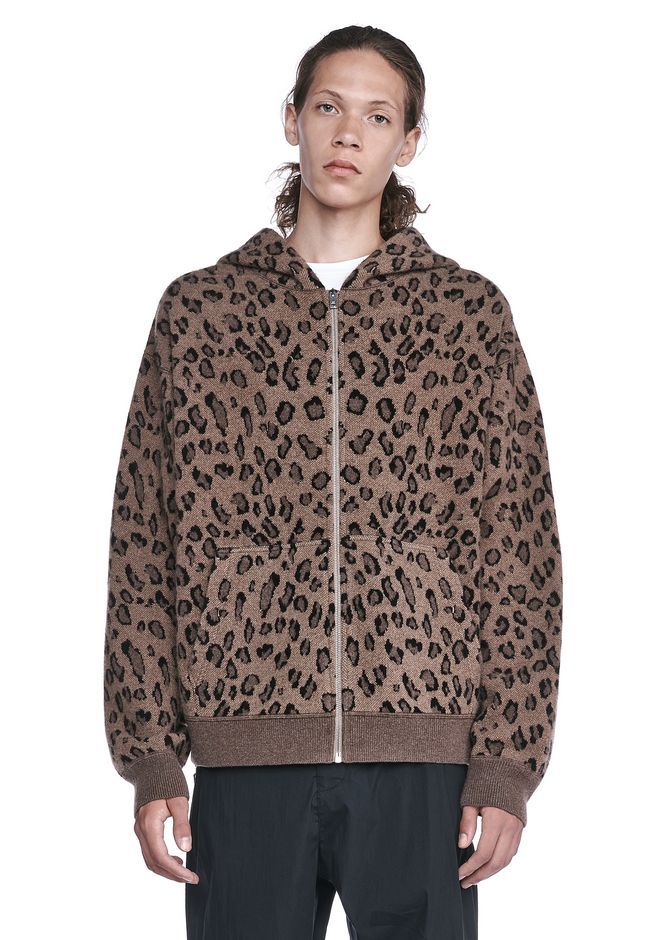 ALEXANDER WANG nwvmens-apparel ZIP LEOPARD HOODIE
