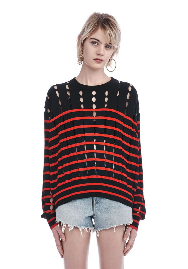 T by ALEXANDER WANG TOPS STRIPED CREWNECK PULLOVER WITH SLITS