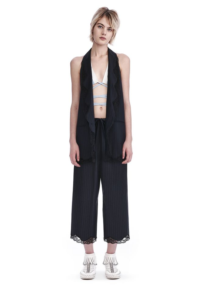 ALEXANDER WANG TOPS PINSTRIPE ELONGATED VEST WITH LACE-TRIMMED SHAWL COLLAR