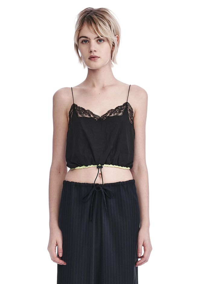 ALEXANDER WANG new-arrivals-ready-to-wear-woman CROPPED NYLON CAMISOLE WITH BUNGEE CORD WAIST