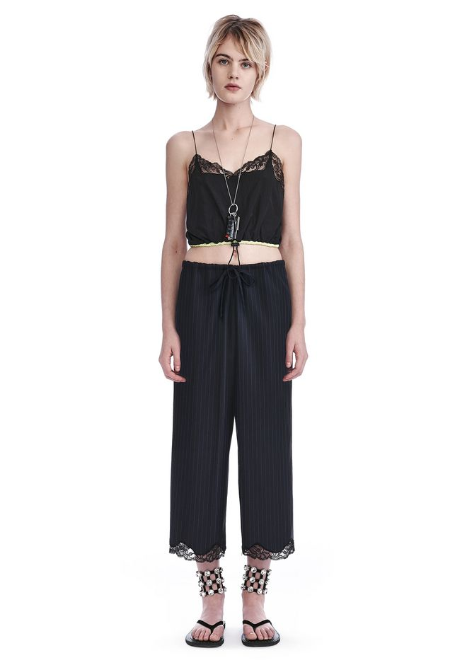 ALEXANDER WANG TOPS CROPPED NYLON CAMISOLE WITH BUNGEE CORD WAIST