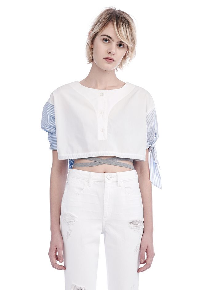ALEXANDER WANG new-arrivals-ready-to-wear-woman POPLIN SHORT SLEEVE CROPPED SHIRT WITH DRAW CORD WAIST
