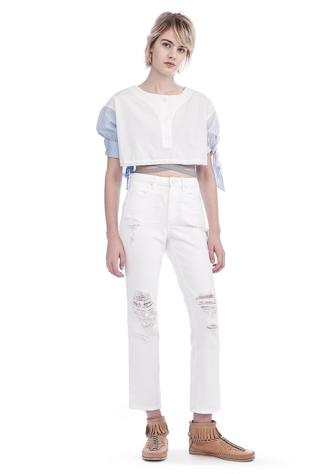 ALEXANDER WANG TOPS POPLIN SHORT SLEEVE CROPPED SHIRT WITH DRAW CORD WAIST