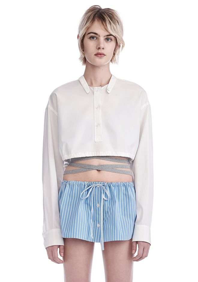 ALEXANDER WANG new-arrivals CROPPED MEN'S SHIRT WITH DECONSTRUCTED COLLAR