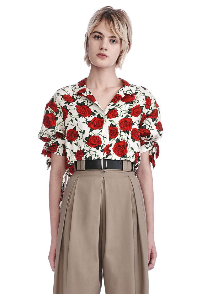 ALEXANDER WANG new-arrivals CROPPED ROSE PRINT BLOUSE WITH TIED SLEEVES