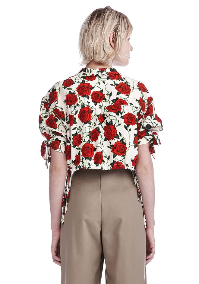 ALEXANDER WANG CROPPED ROSE PRINT BLOUSE WITH TIED SLEEVES TOP Adult 12_n_d