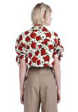 ALEXANDER WANG CROPPED ROSE PRINT BLOUSE WITH TIED SLEEVES TOP Adult 8_n_d