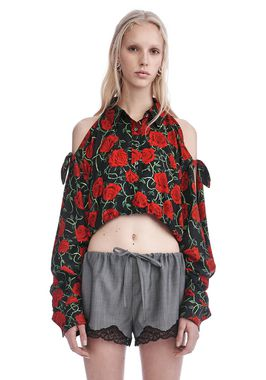CROPPED ROSE PRINT BLOUSE WITH SLIT SHOULDERS
