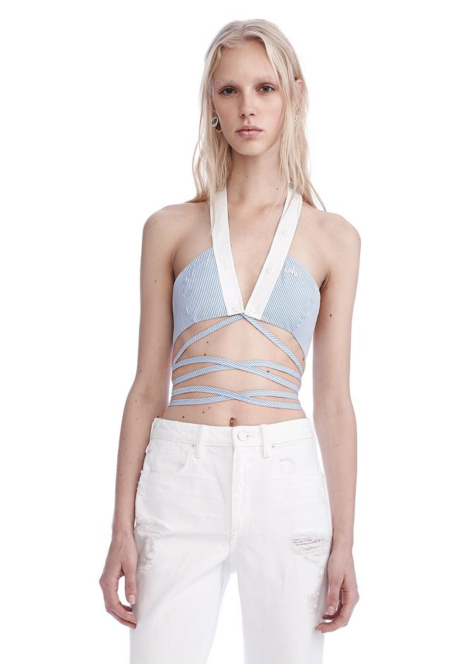 ALEXANDER WANG new-arrivals-ready-to-wear-woman BIKINI WRAP TOP WITH EXTRA-LONG TIES