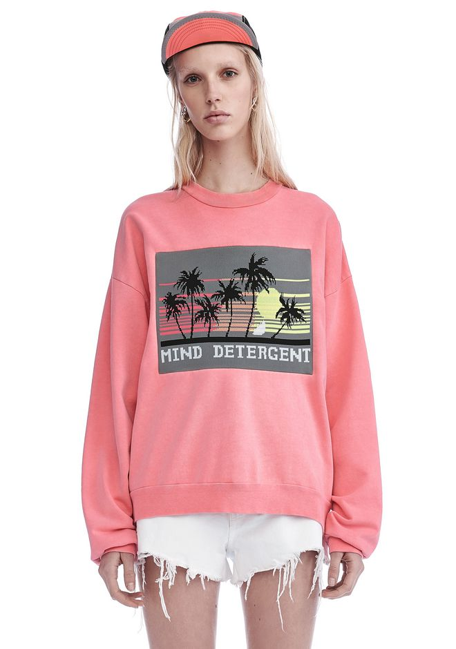 ALEXANDER WANG TOPS Women OVERSIZED SWEATSHIRT WITH MIND DETERGENT KNIT PATCH