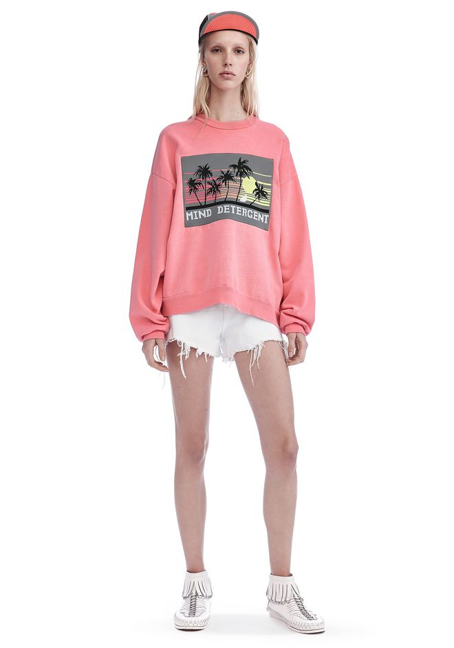 ALEXANDER WANG TOPS OVERSIZED SWEATSHIRT WITH MIND DETERGENT KNIT PATCH
