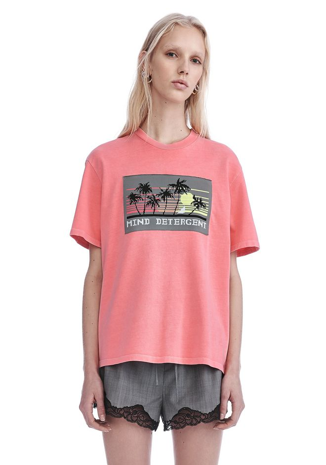 ALEXANDER WANG ready-to-wear-sale JERSEY T-SHIRT WITH MIND DETERGENT KNIT PATCH