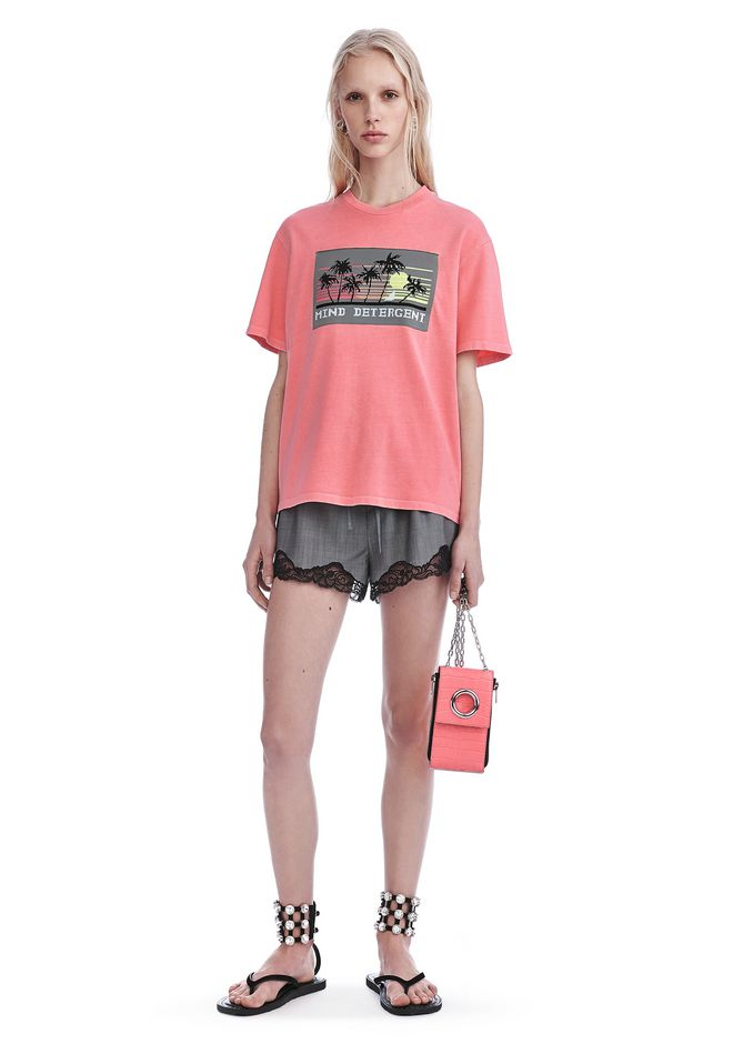 ALEXANDER WANG TOPS JERSEY T-SHIRT WITH MIND DETERGENT KNIT PATCH